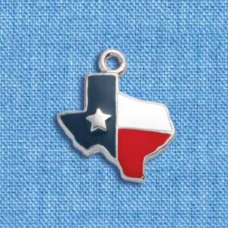 State of Texas Enameled Charm with Flag