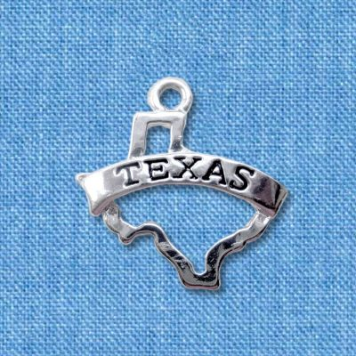 Texas state outline charm with banner