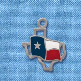 Enameled Texas Flag Over State Outline