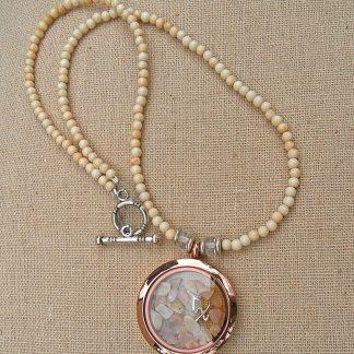 Water Buffalo Bone w/Moonstone Floating Pendant Necklace